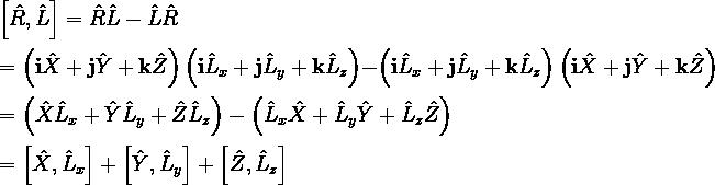 \left[\hat{R}, \hat{L}\right] = \hat{R}\hat{L}-\hat{L}\hat{R}\\ \\ = \left({\bf i}\hat{X}+{\bf j}\hat{Y}+{\bf k}\hat{Z}\right)\left({\bf i}\hat{L}_x+{\bf j}\hat{L}_y+{\bf k}\hat{L}_z\right) - \left({\bf i}\hat{L}_x+{\bf j}\hat{L}_y+{\bf k}\hat{L}_z\right)\left({\bf i}\hat{X}+{\bf j}\hat{Y}+{\bf k}\hat{Z}\right)\\ \\ = \left(\hat{X}\hat{L}_x+\hat{Y}\hat{L}_y+\hat{Z}\hat{L}_z\right)-\left(\hat{L}_x\hat{X}+\hat{L}_y\hat{Y}+\hat{L}_z\hat{Z}\right)\\ \\ = \left[\hat{X}, \hat{L}_x\right] + \left[\hat{Y}, \hat{L}_y\right] + \left[\hat{Z}, \hat{L}_z\right]