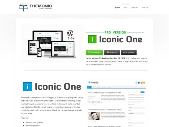 Themonic Themes homepage