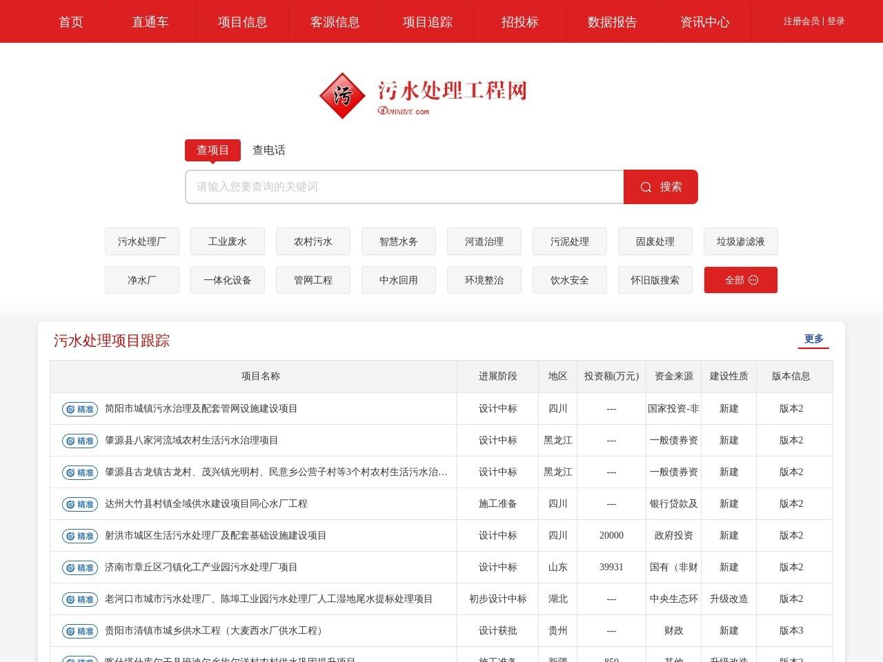 中国污水处理工程网截图
