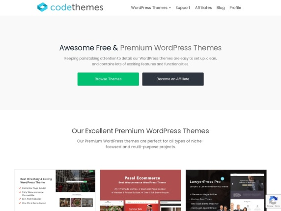 Code Themes homepage