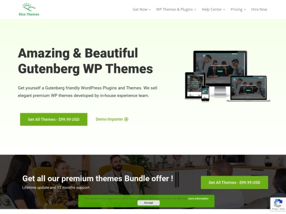 Rise Themes homepage