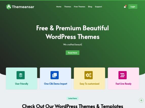 ThemeAnsar homepage