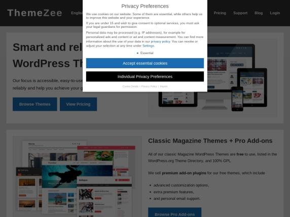 ThemeZee homepage