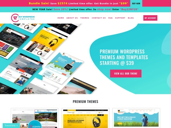 Buy WP Templates homepage