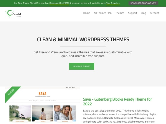 Candid Themes homepage