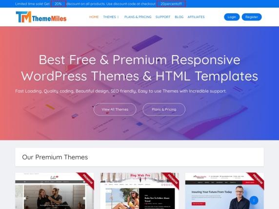 ThemeMiles homepage