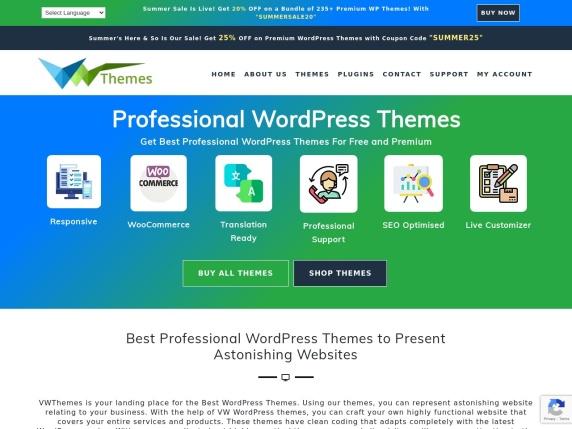 VW Themes homepage