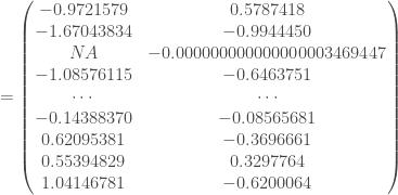 = \begin{pmatrix} -0.9721579 & 0.5787418 \\ -1.67043834 & -0.9944450 \\ NA & -0.000000000000000003469447 \\ -1.08576115 & -0.6463751 \\ \cdots & \cdots \\ -0.14388370 & -0.08565681 \\ 0.62095381 & -0.3696661 \\ 0.55394829 & 0.3297764 \\ 1.04146781 & -0.6200064 \end{pmatrix}