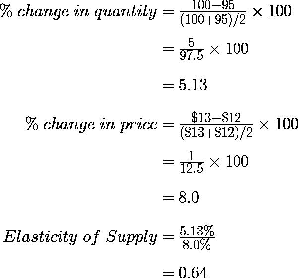 \ \begin{array}{r @{{}={}} l}\%\;change\;in\;quantity & \frac { { 100 }-{ 95 } }{ ({ 100 }+{ 95 })/2 } \times 100 \\[1em] & \frac { 5 }{ 97.5 } \times 100 \\[1em] & 5.13 \\[1em] \%\;change\;in\;price & \frac { { \$13 }-{ \$12 } }{ ({ \$13 }+{ \$12 })/2 } \times 100 \\[1em] & \frac { 1 }{ 12.5 } \times 100 \\[1em] & 8.0 \\[1em] Elasticity\;of\;Supply & \frac { 5.13\% }{ 8.0\% } \\[1em] & 0.64 \end{array}