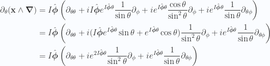 \begin{aligned}\partial_\theta (\mathbf{x} \wedge \boldsymbol{\nabla})&=I \hat{\boldsymbol{\phi}} \left( \partial_{\theta\theta} + i I \hat{\boldsymbol{\phi}} e^{I\hat{\boldsymbol{\phi}} \theta} \frac{1}{{\sin\theta}} \partial_\phi + i e^{I\hat{\boldsymbol{\phi}} \theta} \frac{\cos\theta}{\sin^2\theta} \partial_\phi + i e^{I\hat{\boldsymbol{\phi}} \theta} \frac{1}{{\sin\theta}} \partial_{\theta\phi}\right) \\ &=I \hat{\boldsymbol{\phi}} \left( \partial_{\theta\theta} + i ( I \hat{\boldsymbol{\phi}} e^{I\hat{\boldsymbol{\phi}} \theta} \sin\theta +  e^{I\hat{\boldsymbol{\phi}} \theta} \cos\theta ) \frac{1}{{\sin^2\theta}} \partial_\phi + i e^{I\hat{\boldsymbol{\phi}} \theta} \frac{1}{{\sin\theta}} \partial_{\theta\phi}\right) \\ &=I \hat{\boldsymbol{\phi}} \left( \partial_{\theta\theta} + i e^{2 I\hat{\boldsymbol{\phi}} \theta} \frac{1}{{\sin^2\theta}} \partial_\phi + i e^{I\hat{\boldsymbol{\phi}} \theta} \frac{1}{{\sin\theta}} \partial_{\theta\phi}\right) \\  \end{aligned}