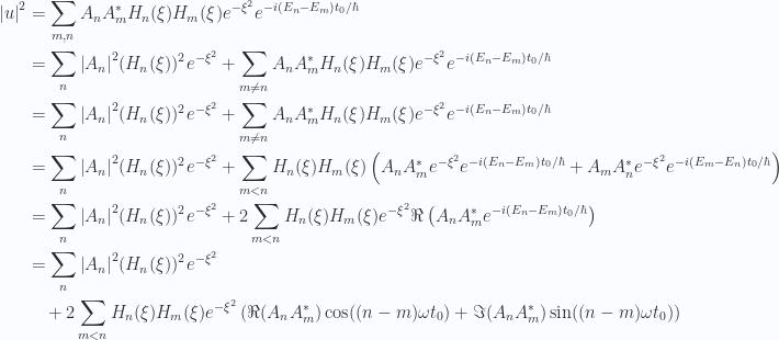 \begin{aligned}{\left\lvert{u}\right\rvert}^2&=\sum_{m,n}A_n A_m^{*} H_n(\xi) H_m(\xi) e^{-\xi^2} e^{-i (E_n - E_m)t_0/\hbar} \\ &=\sum_n{\left\lvert{A_n}\right\rvert}^2 (H_n(\xi))^2 e^{-\xi^2}+\sum_{m \ne n}A_n A_m^{*} H_n(\xi) H_m(\xi) e^{-\xi^2} e^{-i (E_n - E_m)t_0/\hbar} \\ &=\sum_n{\left\lvert{A_n}\right\rvert}^2 (H_n(\xi))^2 e^{-\xi^2}+\sum_{m \ne n}A_n A_m^{*} H_n(\xi) H_m(\xi) e^{-\xi^2} e^{-i (E_n - E_m)t_0/\hbar} \\ &=\sum_n{\left\lvert{A_n}\right\rvert}^2 (H_n(\xi))^2 e^{-\xi^2}+\sum_{m < n}H_n(\xi) H_m(\xi)\left(A_n A_m^{*}e^{-\xi^2} e^{-i (E_n - E_m)t_0/\hbar}+A_m A_n^{*}e^{-\xi^2} e^{-i (E_m - E_n)t_0/\hbar}\right) \\ &=\sum_n{\left\lvert{A_n}\right\rvert}^2 (H_n(\xi))^2 e^{-\xi^2}+2 \sum_{m < n}H_n(\xi) H_m(\xi)e^{-\xi^2}\Re \left(A_n A_m^{*}e^{-i (E_n - E_m)t_0/\hbar}\right) \\ &=\sum_n{\left\lvert{A_n}\right\rvert}^2 (H_n(\xi))^2 e^{-\xi^2}  \\ &\quad+2 \sum_{m < n}H_n(\xi) H_m(\xi)e^{-\xi^2}\left(\Re ( A_n A_m^{*} ) \cos( (n - m)\omega t_0)+\Im ( A_n A_m^{*} ) \sin( (n - m)\omega t_0)\right) \\ \end{aligned}