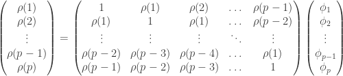 \begin{aligned} \begin{pmatrix} \rho (1) \\ \rho (2) \\ \vdots \\ \rho (p-1) \\ \rho(p) \end{pmatrix} = \begin{pmatrix} 1 & \rho (1) & \rho (2) & \dots & \rho (p-1) \\ \rho (1) & 1 & \rho (1) & \dots & \rho (p-2) \\ \vdots & \vdots & \vdots & \ddots & \vdots \\ \rho (p-2) & \rho (p-3) & \rho (p-4) & \dots & \rho (1) \\ \rho (p-1) & \rho (p-2) & \rho (p-3) & \dots & 1 \end{pmatrix} \begin{pmatrix} \phi_1 \\ \phi_2 \\ \vdots \\ \phi_{p-1} \\ \phi_p \end{pmatrix} \end{aligned}