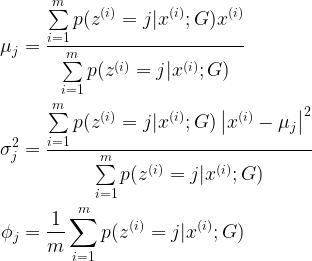 \begin{aligned} \mu_j &= \frac{\sum\limits_{i=1}^m p(z^{(i)} = j | x^{(i)}; G) x^{(i)}}{\sum\limits_{i=1}^m p(z^{(i)} = j | x^{(i)}; G)} \\ \sigma_j^2 &= \frac{\sum\limits_{i=1}^m p(z^{(i)} = j | x^{(i)}; G) \left\vert x^{(i)} - \mu_j \right\vert^2}{\sum\limits_{i=1}^m p(z^{(i)} = j | x^{(i)}; G)} \\ \phi_j &= \frac{1}{m} \sum\limits_{i=1}^m p(z^{(i)} = j | x^{(i)}; G) \end{aligned}