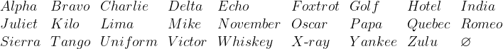 \begin{array}{*{9}{l}}  Alpha & Bravo & Charlie & Delta & Echo & Foxtrot & Golf & Hotel & India  \\  Juliet & Kilo & Lima & Mike & November & Oscar & Papa & Quebec & Romeo  \\  Sierra & Tango & Uniform & Victor & Whiskey & X\text{-}ray & Yankee & Zulu & \varnothing  \end{array}