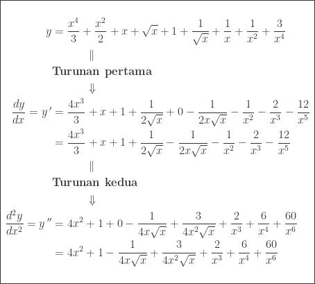 \begin{array}{|l|}\hline \begin{aligned}&\ &\begin{aligned}y&=\displaystyle \frac{x^{4}}{3}+\frac{x^{2}}{2}+x+\sqrt{x}+1+\displaystyle \frac{1}{\sqrt{x}}+\frac{1}{x}+\frac{1}{x^{2}}+\frac{3}{x^{4}}\ &\qquad\quad \parallel \ &\textbf{Turunan pertama}\ &\qquad\quad \Downarrow \ \displaystyle \frac{dy}{dx}={y}\, '&=\displaystyle \frac{4x^{3}}{3}+x+1+\displaystyle \frac{1}{2\sqrt{x}}+0-\frac{1}{2x\sqrt{x}}-\frac{1}{x^{2}}-\frac{2}{x^{3}}-\frac{12}{x^{5}}\ &=\displaystyle \frac{4x^{3}}{3}+x+1+\displaystyle \frac{1}{2\sqrt{x}}-\frac{1}{2x\sqrt{x}}-\frac{1}{x^{2}}-\frac{2}{x^{3}}-\frac{12}{x^{5}}\ &\qquad\quad \parallel \ &\textbf{Turunan kedua}\ &\qquad\quad \Downarrow \ \displaystyle \frac{d^{2}y}{dx^{2}}={y}\, ''&=4x^{2}+1+0-\displaystyle \frac{1}{4x\sqrt{x}}+\frac{3}{4x^{2}\sqrt{x}}+\frac{2}{x^{3}}+\frac{6}{x^{4}}+\frac{60}{x^{6}}\ &=4x^{2}+1-\displaystyle \frac{1}{4x\sqrt{x}}+\frac{3}{4x^{2}\sqrt{x}}+\frac{2}{x^{3}}+\frac{6}{x^{4}}+\frac{60}{x^{6}} \end{aligned}\ & \end{aligned}\\hline \end{array}