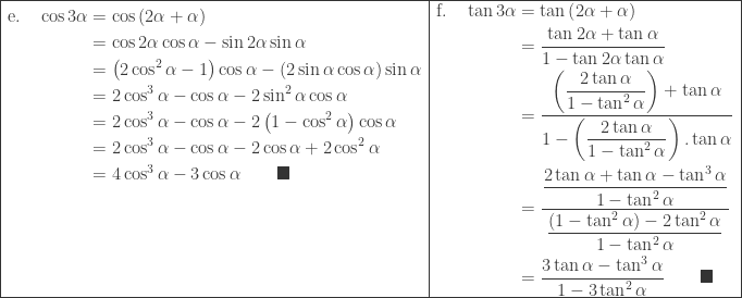 \begin{array}{|l|l|}\hline \begin{aligned}\textrm{e}.\quad \cos 3\alpha &=\cos \left ( 2\alpha +\alpha \right )\ &=\cos 2\alpha \cos \alpha -\sin 2\alpha \sin \alpha \ &=\left ( 2\cos ^{2}\alpha -1 \right )\cos \alpha -\left ( 2\sin \alpha \cos \alpha \right )\sin \alpha \ &=2\cos ^{3}\alpha -\cos \alpha -2\sin ^{2}\alpha \cos \alpha \ &=2\cos ^{3}\alpha -\cos \alpha -2\left ( 1-\cos ^{2}\alpha \right ) \cos \alpha\ &=2\cos ^{3}\alpha -\cos \alpha -2\cos \alpha +2\cos ^{2}\alpha\ &=4\cos ^{3}\alpha -3\cos \alpha \qquad \blacksquare\ &\ &\ &\ & \end{aligned}&\begin{aligned}\textrm{f}.\quad \tan 3\alpha &=\tan \left ( 2\alpha +\alpha \right )\ &=\displaystyle \frac{\tan 2\alpha +\tan \alpha }{1-\tan 2\alpha \tan \alpha }\ &=\displaystyle \frac{\left ( \displaystyle \frac{2\tan \alpha }{1-\tan ^{2}\alpha } \right )+\tan \alpha }{1-\left ( \displaystyle \frac{2\tan \alpha }{1-\tan ^{2}\alpha } \right ).\tan \alpha }\ &=\displaystyle \frac{\displaystyle \frac{2\tan \alpha +\tan \alpha -\tan ^{3}\alpha }{1-\tan ^{2}\alpha }}{\displaystyle \frac{\left ( 1-\tan ^{2}\alpha \right )-2\tan ^{2}\alpha }{1-\tan ^{2}\alpha }}\ &=\displaystyle \frac{3\tan \alpha -\tan ^{3}\alpha }{1-3\tan ^{2}\alpha }\qquad \blacksquare \end{aligned} \\hline \end{array}