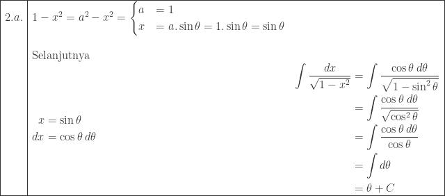 \begin{array}{ l ll }\hline 2.a.&1-x^{2}=a^{2}-x^{2}=\begin{cases} a & =1 \\ x & = a.\sin \theta =1.\sin \theta =\sin \theta \end{cases}&\\ &&\\&\textrm{Selanjutnya}&\\ &\begin{aligned}x&=\sin \theta \\ dx&=\cos \theta \: d\theta \end{aligned}&\begin{aligned}\int \displaystyle \frac{dx}{\sqrt{1-x^{2}}}&=\int \displaystyle \frac{\cos \theta \: d\theta }{\sqrt{1-\sin ^{2}\theta }}\\ &=\int \displaystyle \frac{\cos \theta \: d\theta }{\sqrt{\cos ^{2}\theta }}\\ &=\int \displaystyle \frac{\cos \theta \: d\theta }{\cos \theta }\\ &=\int d\theta \\ &=\theta +C \end{aligned}\\\hline \end{array}