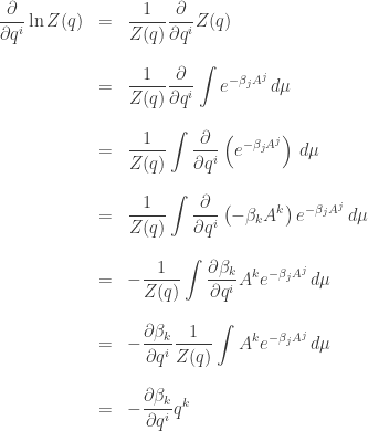 \begin{array}{ccl}  \displaystyle{ \frac{\partial}{\partial q^i} \ln Z(q) } &=&  \displaystyle{ \frac{1}{Z(q)} \frac{\partial}{\partial q^i} Z(q) } \\  \\  &=&  \displaystyle{ \frac{1}{Z(q)} \frac{\partial}{\partial q^i}  \int e^{- \beta_j A^j}  \, d\mu  }  \\ \\  &=&  \displaystyle{ \frac{1}{Z(q)} \int \frac{\partial}{\partial q^i} \left(e^{- \beta_j A^j}\right) \, d\mu  }  \\ \\  &=&  \displaystyle{ \frac{1}{Z(q)} \int \frac{\partial}{\partial q^i}\left( - \beta_k A^k \right)  e^{- \beta_j A^j} \, d\mu  }  \\ \\  &=&  \displaystyle{ -\frac{1}{Z(q)} \int \frac{\partial \beta_k}{\partial q^i}  A^k   e^{- \beta_j A^j} \, d\mu  }  \\ \\  &=&  \displaystyle{ - \frac{\partial \beta_k}{\partial q^i} \frac{1}{Z(q)} \int  A^k   e^{- \beta_j A^j} \, d\mu  }  \\ \\  &=&  \displaystyle{ - \frac{\partial \beta_k}{\partial q^i} q^k }  \end{array}