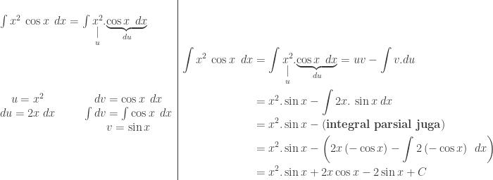 \begin{array}{l l}\\ \int x^{2}\: \cos x\: \: dx=\int \underset{\displaystyle \underset{u}{\mid }}{x^{2}}.\underset{du}{\underbrace{\cos x\: \: dx}}&\\ \begin{matrix} u=x^{2} &&& dv=\cos x\: \: dx\\ du=2x\: dx &&& \int dv=\int \cos x\: \: dx\\ &&& v=\sin x \end{matrix}&\begin{aligned}\int x^{2}\: \cos x\: \: dx&=\int \underset{\displaystyle \underset{u}{\mid }}{x^{2}}.\underset{du}{\underbrace{\cos x\: \: dx}}=uv-\int v.du\\ &=x^{2}.\sin x-\int 2x.\: \sin x\: dx\\ &=x^{2}.\sin x-\left ( \textbf{integral parsial juga} \right )\\ &=x^{2}.\sin x-\left ( 2x\left ( -\cos x \right )-\int 2\left ( -\cos x \right )\: \: dx \right )\\ &=x^{2}.\sin x+2x\cos x-2\sin x+C \end{aligned} \end{array}