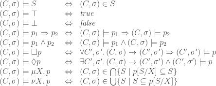\begin{array}{lcl}(C,\sigma)\models S & \Leftrightarrow & (C,\sigma)\in S \\(C,\sigma)\models\top & \Leftrightarrow & \mathit{true} \\(C,\sigma)\models\bot & \Leftrightarrow & \mathit{false} \\(C,\sigma)\models p_1\Rightarrow p_2 & \Leftrightarrow & (C,\sigma)\models p_1 \Rightarrow (C,\sigma)\models p_2 \\(C,\sigma)\models p_1\wedge p_2 & \Leftrightarrow & (C,\sigma)\models p_1 \wedge (C,\sigma)\models p_2 \\(C,\sigma)\models\square p & \Leftrightarrow & \forall C',\sigma'\ldotp (C,\sigma)\rightarrow (C',\sigma') \Rightarrow (C',\sigma')\models p \\(C,\sigma)\models\lozenge p & \Leftrightarrow & \exists C',\sigma'\ldotp (C,\sigma)\rightarrow (C',\sigma') \wedge (C',\sigma')\models p \\(C,\sigma)\models \mu X\ldotp p & \Leftrightarrow & (C,\sigma)\in \bigcap\{S\mid p[S/X] \subseteq S\} \\(C,\sigma)\models \nu X\ldotp p & \Leftrightarrow & (C,\sigma)\in \bigcup\{S\mid S \subseteq p[S/X]\}\end{array}
