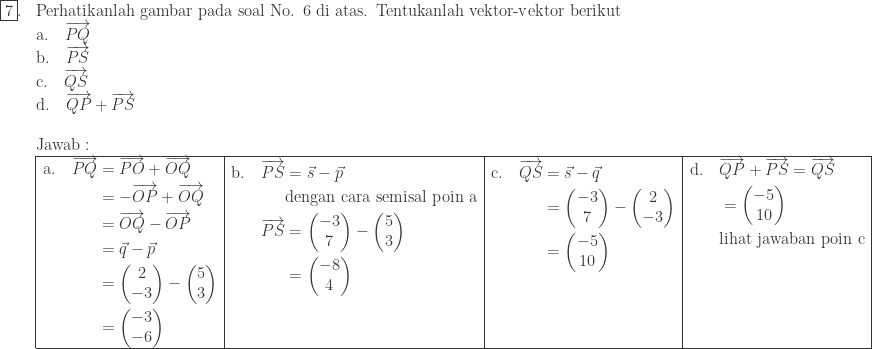 \begin{array}{ll}\ \fbox{7}.&\textrm{Perhatikanlah gambar pada soal No. 6 di atas. Tentukanlah vektor-vektor berikut}\ &\textrm{a}.\quad \overrightarrow{PQ}\ &\textrm{b}.\quad \overrightarrow{PS}\ &\textrm{c}.\quad \overrightarrow{QS}\ &\textrm{d}.\quad \overrightarrow{QP}+\overrightarrow{PS}\\ &\textrm{Jawab}:\ &\begin{array}{|l|l|l|l|}\hline \begin{aligned}\textrm{a}.\quad \overrightarrow{PQ}&=\overrightarrow{PO}+\overrightarrow{OQ}\ &=-\overrightarrow{OP}+\overrightarrow{OQ}\ &=\overrightarrow{OQ}-\overrightarrow{OP}\ &=\vec{q}-\vec{p}\ &=\begin{pmatrix} 2\ -3 \end{pmatrix}-\begin{pmatrix} 5\ 3 \end{pmatrix}\ &=\begin{pmatrix} -3\ -6 \end{pmatrix} \end{aligned}&\begin{aligned}\textrm{b}.\quad \overrightarrow{PS}&=\vec{s}-\vec{p}\ &\textrm{dengan cara semisal poin a}\ \overrightarrow{PS}&=\begin{pmatrix} -3\ 7 \end{pmatrix}-\begin{pmatrix} 5\ 3 \end{pmatrix}\ &=\begin{pmatrix} -8\ 4 \end{pmatrix}\ &\ & \end{aligned}&\begin{aligned}\textrm{c}.\quad \overrightarrow{QS}&=\vec{s}-\vec{q}\ &=\begin{pmatrix} -3\ 7 \end{pmatrix}-\begin{pmatrix} 2\ -3 \end{pmatrix}\ &=\begin{pmatrix} -5\ 10 \end{pmatrix}\ &\ &\ & \end{aligned}&\begin{aligned}\textrm{d}.\quad &\overrightarrow{QP}+\overrightarrow{PS}=\overrightarrow{QS}\ &=\begin{pmatrix} -5\ 10 \end{pmatrix}\ &\textrm{lihat jawaban poin c}\ &\ &\ &\ & \end{aligned}\\hline \end{array} \end{array}