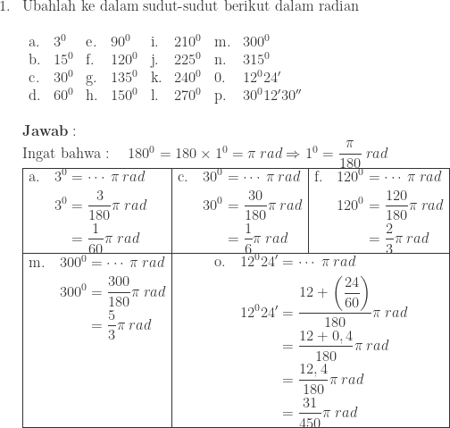 \begin{array}{ll}\ 1.&\textrm{Ubahlah ke dalam sudut-sudut berikut dalam radian}\ &\begin{array}{llllllll}\ \textrm{a}.&3^{0}&\textrm{e}.&90^{0}&\textrm{i}.&210^{0}&\textrm{m}.&300^{0}\ \textrm{b}.&15^{0}&\textrm{f}.&120^{0}&\textrm{j}.&225^{0}&\textrm{n}.&315^{0}\ \textrm{c}.&30^{0}&\textrm{g}.&135^{0}&\textrm{k}.&240^{0}&\textrm{0}.&12^{0}{24}'\ \textrm{d}.&60^{0}&\textrm{h}.&150^{0}&\textrm{l}.&270^{0}&\textrm{p}.&30^{0}{12}'{30}'' \end{array}\\ &\textbf{Jawab}:\ &\textrm{Ingat bahwa}:\quad 180^{0}=180\times 1^{0}=\pi \: rad\Rightarrow 1^{0}=\displaystyle \frac{\pi }{180}\: rad \ &\begin{array}{|l|l|l|}\hline \begin{aligned}\textrm{a}.\quad 3^{0}&=\cdots \: \pi \: rad\ 3^{0}&=\displaystyle \frac{3}{180}\pi \: rad\ &=\displaystyle \frac{1}{60}\pi \: rad \end{aligned}&\begin{aligned}\textrm{c}.\quad 30^{0}&=\cdots \: \pi \: rad\ 30^{0}&=\displaystyle \frac{30}{180}\pi \: rad\ &=\displaystyle \frac{1}{6}\pi \: rad \end{aligned}&\begin{aligned}\textrm{f}.\quad 120^{0}&=\cdots \: \pi \: rad\ 120^{0}&=\displaystyle \frac{120}{180}\pi \: rad\ &=\displaystyle \frac{2}{3}\pi \: rad \end{aligned}\\hline \begin{aligned}\textrm{m}.\quad 300^{0}&=\cdots \: \pi \: rad\ 300^{0}&=\displaystyle \frac{300}{180}\pi \: rad\ &=\displaystyle \frac{5}{3}\pi \: rad\ &\ &\ &\ & \end{aligned} &\multicolumn{2}{|c|}{\begin{aligned}\textrm{o}.\quad 12^{0}{24}'&=\cdots \: \pi \: rad\ 12^{0}{24}'&=\displaystyle \frac{12+\left ( \displaystyle \frac{24}{60} \right )}{180}\pi \: rad\ &=\displaystyle \frac{12+0,4}{180}\pi \: rad\ &=\displaystyle \frac{12,4}{180}\pi \: rad\ &=\displaystyle \frac{31}{450}\pi \: rad \end{aligned}}\\hline \end{array} \end{array}