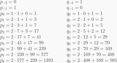 \begin{array}{ll} p_{-2} = 0 & q_{-2} = 1 \\ p_{-1} = 1 & q_{-1} = 0 \\ p_0 = 1\cdot1+0 = 1 & q_0 = 1\cdot0+1 = 1 \\ p_1 = 2\cdot1+1 = 3 & q_1 = 2\cdot1+0 = 2 \\ p_2 = 2\cdot3+1 = 7 & q_2 = 2\cdot2+1 = 5 \\ p_3 = 2\cdot7+3 = 17 & q_3 = 2\cdot5+2 = 12 \\ p_4 = 2\cdot17+7 = 41 & q_4 = 2\cdot12+5 = 29 \\ p_5 = 2\cdot41+17 = 99 & q_5 = 2\cdot29+12 = 70 \\ p_6 = 2\cdot99+41 = 239 & q_6 = 2\cdot70+29 = 169 \\ p_7 = 2\cdot239+99 = 577 & q_7 = 2\cdot169+70 = 408 \\ p_8 = 2\cdot577+239 = 1393 \qquad & q_8 = 2\cdot408+169 = 985 \end{array}