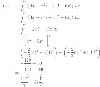 \begin{array}{rl} \text{Luas } &= {\displaystyle \int_0^4} ((4x-x^2)-(x^2-6x))~dx\\ &= {\displaystyle \int_0^4} ((4x-x^2)-(x^2-6x))~dx\\ &= {\displaystyle \int_0^4} -2x^2+10x~dx\\ &= -\dfrac{2}{3}x^3 +5x^2~\mathrel{\bigg }_{0}^4\\ &= \left( -\dfrac{2}{3}(4)^3 +5(4)^2 \right) -\left( -\dfrac{2}{3}(0)^3 +5(0)^2 \right)\\ &= -\dfrac{128}{3} +80\\ &= -\dfrac{128}{3} + \dfrac{240}{3}\\ &= \dfrac{112}{3} = 37\dfrac{1}{3}. \end{array}