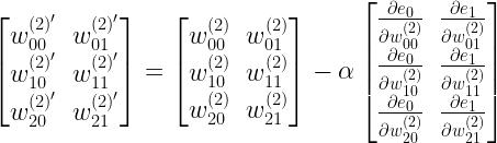 \begin{bmatrix} w^{(2)'}_{00} &w^{(2)'}_{01} \\ w^{(2)'}_{10} &w^{(2)'}_{11} \\ w^{(2)'}_{20} &w^{(2)'}_{21} \\ \end{bmatrix} = \begin{bmatrix} w^{(2)}_{00} &w^{(2)}_{01} \\ w^{(2)}_{10} &w^{(2)}_{11} \\ w^{(2)}_{20} &w^{(2)}_{21} \\ \end{bmatrix} - \alpha \begin{bmatrix} \frac{\partial e_0}{\partial w^{(2)}_{00}}& \frac{\partial e_1}{\partial w^{(2)}_{01}} \\ \frac{\partial e_0}{\partial w^{(2)}_{10}} & \frac{\partial e_1}{\partial w^{(2)}_{11}} \\ \frac{\partial e_0}{\partial w^{(2)}_{20}} & \frac{\partial e_1}{\partial w^{(2)}_{21}} \\ \end{bmatrix}\\