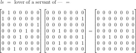\begin{matrix}  \mathit{l}\mathit{s} & = & \text{lover of a servant of ---} & =  \end{matrix}  \\[10pt]  \begin{bmatrix}  0 & 1 & 0 & 0 & 0 & 0 & 0 \\  1 & 0 & 0 & 0 & 0 & 0 & 0 \\  0 & 0 & 0 & 0 & 0 & 0 & 1 \\  0 & 0 & 0 & 0 & 1 & 0 & 0 \\  0 & 0 & 0 & 1 & 0 & 0 & 0 \\  0 & 0 & 0 & 0 & 0 & 0 & 0 \\  0 & 0 & 1 & 0 & 0 & 0 & 0  \end{bmatrix}  \begin{bmatrix}  0 & 0 & 0 & 0 & 0 & 0 & 0 \\  0 & 0 & 0 & 0 & 0 & 0 & 1 \\  0 & 0 & 0 & 0 & 0 & 0 & 0 \\  0 & 0 & 1 & 0 & 0 & 0 & 0 \\  0 & 0 & 0 & 0 & 0 & 0 & 1 \\  0 & 0 & 1 & 0 & 0 & 0 & 1 \\  0 & 0 & 0 & 0 & 0 & 0 & 0  \end{bmatrix}  =  \begin{bmatrix}  0 & 0 & 0 & 0 & 0 & 0 & 1 \\  0 & 0 & 0 & 0 & 0 & 0 & 0 \\  0 & 0 & 0 & 0 & 0 & 0 & 0 \\  0 & 0 & 0 & 0 & 0 & 0 & 1 \\  0 & 0 & 1 & 0 & 0 & 0 & 0 \\  0 & 0 & 0 & 0 & 0 & 0 & 0 \\  0 & 0 & 0 & 0 & 0 & 0 & 0  \end{bmatrix}