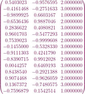 \begin{pmatrix}        0.5403023 & -0.9576595 &  2.0000000 \\    -0.4161468 & -0.2751633 &  3.0000000 \\    -0.9899925 &  0.6603167 &  1.0000000 \\    -0.6536436 &  0.9887046 &  2.0000000 \\     0.2836622 &  0.4080821 &  3.0000000 \\     0.9601703 & -0.5477293 &  1.0000000 \\     0.7539023 & -0.9999608 &  2.0000000 \\    -0.1455000 & -0.5328330 &  3.0000000 \\    -0.9111303 &  0.4241790 &  1.0000000 \\    -0.8390715 &  0.9912028 &  2.0000000 \\     0.0044257 &  0.6469193 &  3.0000000 \\     0.8438540 & -0.2921388 &  1.0000000 \\     0.9074468 & -0.9626059 &  2.0000000 \\     0.1367372 & -0.7480575 &  3.0000000 \\    -0.7596879 &  0.1542514 &  1.0000000 \\  \end{pmatrix}