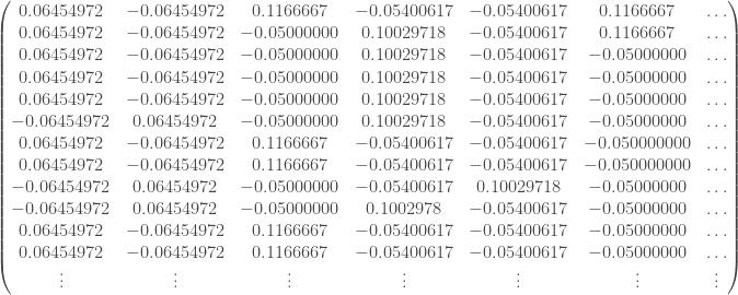 \begin{pmatrix} 0.06454972 & -0.06454972 & 0.1166667 & -0.05400617 & -0.05400617 & 0.1166667 & \ldots \\ 0.06454972 & -0.06454972 & -0.05000000 & 0.10029718 & -0.05400617 & 0.1166667 & \ldots \\ 0.06454972 & -0.06454972 & -0.05000000 & 0.10029718 & -0.05400617 & -0.05000000 & \ldots \\ 0.06454972 & -0.06454972 & -0.05000000 & 0.10029718 & -0.05400617 & -0.05000000 & \ldots \\ 0.06454972 & -0.06454972 & -0.05000000 & 0.10029718 & -0.05400617 & -0.05000000 & \ldots \\ -0.06454972 & 0.06454972 & -0.05000000 & 0.10029718 & -0.05400617 & -0.05000000 & \ldots \\ 0.06454972 & -0.06454972 & 0.1166667 & -0.05400617 & -0.05400617 & -0.050000000 & \ldots \\ 0.06454972 & -0.06454972 & 0.1166667 & -0.05400617 & -0.05400617 & -0.050000000 & \ldots \\ -0.06454972 & 0.06454972 & -0.05000000 & -0.05400617 & 0.10029718 & -0.05000000 & \ldots \\ -0.06454972 & 0.06454972 & -0.05000000 & 0.1002978 & -0.05400617 & -0.05000000 & \ldots \\ 0.06454972 & -0.06454972 & 0.1166667 & -0.05400617 & -0.05400617 & -0.05000000 & \ldots \\ 0.06454972 & -0.06454972 & 0.1166667 & -0.05400617 & -0.05400617 & -0.05000000 & \ldots \\ \vdots & \vdots & \vdots & \vdots & \vdots & \vdots & \vdots \end{pmatrix}