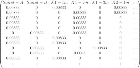 \begin{pmatrix} Statut = A & Statut = B & X1 = 1m & X1 = 2m & X1 = 3m & X2 = 1m & \ldots \\ 0.00833 & 0 & 0.00833 & 0 & 0 & 0.00833 & \ldots \\ 0.00833 & 0 & 0 & 0.00833 & 0 & 0.00833 & \ldots \\ 0.00833 & 0 & 0 & 0.00833 & 0 & 0 & \ldots \\ 0.00833 & 0 & 0 & 0.00833 & 0 & 0 & \ldots \\ 0.00833 & 0 & 0 & 0.00833 & 0 & 0 & \ldots \\ 0 & 0.00833 & 0 & 0.00833 & 0 & 0 & \ldots \\ 0.00833 & 0 & 0.00833 & 0 & 0 & 0 & \ldots \\ 0.00833 & 0 & 0.00833 & 0 & 0 & 0 & \ldots \\ 0 & 0.00833 & 0 & 0 & 0.00833 & 0 & \ldots \\ 0 & 0.00833 & 0 & 0.0083 & 0 & 0 & \ldots \\ 0.00833 & 0 & 0.00833 & 0 & 0 & 0 & \ldots \\ \vdots & \vdots & \vdots & \vdots & \vdots & \vdots & \vdots \end{pmatrix}