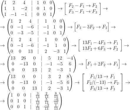 \begin{pmatrix}1&2&4&|&1&0&0\\1&1&-2&|&0&1&0\\1&-1&-1&|&0&0&1\end{pmatrix}\rightarrow\left[\begin{array}{c}F_2-F_1\rightarrow F_2\\F_3-F_1\rightarrow F_3\end{array}\right]\rightarrow\\\\\rightarrow\begin{pmatrix}1&2&4&|&1&0&0\\0&-1&-6&|&-1&1&0\\0&-3&-5&|&-1&0&1\end{pmatrix}\rightarrow\Big[F_3-3F_2\rightarrow F_3\Big]\rightarrow\\\\\rightarrow\begin{pmatrix}1&2&4&|&1&0&0\\0&-1&-6&|&-1&1&0\\0&0&13&|&2&-3&1\end{pmatrix}\rightarrow\left[\begin{array}{c}13F_1-4F_3\rightarrow F_1\\13F_2+6F_3\rightarrow F_2\end{array}\right]\rightarrow\\\\\rightarrow\begin{pmatrix}13&26&0&|&5&12&-4\\0&-13&0&|&-1&-5&6\\0&0&13&|&2&-3&1\end{pmatrix}\rightarrow\Big[F_1+2F_2\rightarrow F_1\Big]\rightarrow\\\\\rightarrow\begin{pmatrix}13&0&0&|&3&2&8\\0&-13&0&|&-1&-5&6\\0&0&13&|&2&-3&1\end{pmatrix}\rightarrow\left[\begin{array}{c}F_1/13\rightarrow F_1\\F_2/(-13)\rightarrow F_2\\F_3/13\rightarrow F_3\end{array}\right]\rightarrow\\\\\rightarrow\begin{pmatrix}1&0&0&|&\frac3{13}&\frac2{13}&\frac8{13}\\0&1&0&|&\frac1{13}&\frac5{13}&\frac{-6}{13}\\0&0&1&|&\frac2{13}&\frac{-3}{13}&\frac1{13}\end{pmatrix}