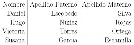 \begin{tabular}{|r|r|r|}  \hline  Nombre & Apellido Paterno & Apellido Materno \  \hline  Daniel & Escobedo & Silva \  \hline  Hugo & Nu\~nez& Rojas \  \hline  Victoria & Torres & Ortega \  \hline  Susana & Garc\'ia & Escamilla \  \hline  \end{tabular}