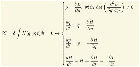 \boxed{\delta S=\delta \int H (q, p; t)dt =0\leftrightarrow\begin{cases}p=\dfrac{\partial L}{\partial \dot{q}},\;\mbox{with}\; \det\left(\dfrac{\partial ^2L}{\partial \dot{q}^i\partial \dot{q}^j}\right)\neq 0\\ \;\\ \dfrac{dq}{dt}=\dot{q}=\dfrac{\partial H}{\partial p}\\ \;\\\dfrac{dp}{dt}=\dot{p}=-\dfrac{\partial H}{\partial q} \\ \;\\ \dfrac{dH}{dt}=\dot{H}=\dfrac{\partial H}{\partial t}=-\dfrac{\partial L}{\partial t}\end{cases}}