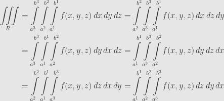 \displaystyle\begin{aligned}\iiint\limits_R&=\int\limits_{a^3}^{b^3}\int\limits_{a^2}^{b^2}\int\limits_{a^1}^{b^1}f(x,y,z)\,dx\,dy\,dz=\int\limits_{a^2}^{b^2}\int\limits_{a^3}^{b^3}\int\limits_{a^1}^{b^1}f(x,y,z)\,dx\,dz\,dy\\&=\int\limits_{a^3}^{b^3}\int\limits_{a^1}^{b^1}\int\limits_{a^2}^{b^2}f(x,y,z)\,dy\,dx\,dz=\int\limits_{a^1}^{b^1}\int\limits_{a^3}^{b^3}\int\limits_{a^2}^{b^2}f(x,y,z)\,dy\,dz\,dx\\&=\int\limits_{a^2}^{b^2}\int\limits_{a^1}^{b^1}\int\limits_{a^3}^{b^3}f(x,y,z)\,dz\,dx\,dy=\int\limits_{a^1}^{b^1}\int\limits_{a^2}^{b^2}\int\limits_{a^3}^{b^3}f(x,y,z)\,dz\,dy\,dx\end{aligned}