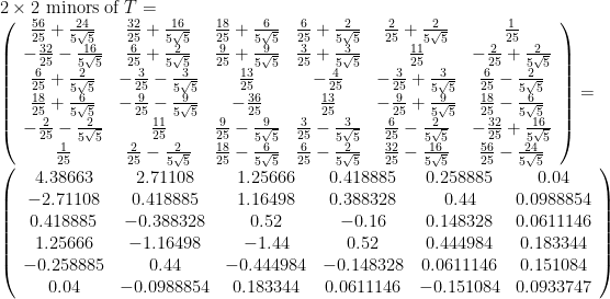 \displaystyle \begin{array}{rcl} & & 2\times 2 \textrm{ minors of } T = \\ & & \left(\begin{array}{cccccc} \frac{56}{25} + \frac{24}{5 \sqrt{5}} & \frac{32}{25} + \frac{16}{5 \sqrt{5}} & \frac{18}{25} + \frac{6}{5 \sqrt{5}} & \frac{6}{25} + \frac{2}{5 \sqrt{5}} & \frac{2}{25} + \frac{2}{5 \sqrt{5}} & \frac{1}{25} \\  -\frac{32}{25} - \frac{16}{5 \sqrt{5}} & \frac{6}{25} + \frac{2}{5 \sqrt{5}} & \frac{9}{25} + \frac{9}{5 \sqrt{5}} & \frac{3}{25} + \frac{3}{5 \sqrt{5}} & \frac{11}{25} & -\frac{2}{25} + \frac{2}{5 \sqrt{5}} \\  \frac{6}{25} + \frac{2}{5 \sqrt{5}} & -\frac{3}{25} - \frac{3}{5 \sqrt{5}} & \frac{13}{25} & -\frac{4}{25} & -\frac{3}{25} + \frac{3}{5 \sqrt{5}} & \frac{6}{25} - \frac{2}{5 \sqrt{5}} \\ \frac{18}{25} + \frac{6}{5 \sqrt{5}} & -\frac{9}{25} - \frac{9}{5 \sqrt{5}} & -\frac{36}{25} & \frac{13}{25} & -\frac{9}{25} + \frac{9}{5 \sqrt{5}} & \frac{18}{25} - \frac{6}{5 \sqrt{5}} \\  -\frac{2}{25} - \frac{2}{5 \sqrt{5}} & \frac{11}{25} & \frac{9}{25} - \frac{9}{5 \sqrt{5}} & \frac{3}{25} - \frac{3}{5 \sqrt{5}} & \frac{6}{25} - \frac{2}{5 \sqrt{5}} & -\frac{32}{25} + \frac{16}{5 \sqrt{5}} \\   \frac{1}{25} & \frac{2}{25} - \frac{2}{5 \sqrt{5}} & \frac{18}{25} - \frac{6}{5 \sqrt{5}} & \frac{6}{25} - \frac{2}{5 \sqrt{5}} & \frac{32}{25} - \frac{16}{5 \sqrt{5}} & \frac{56}{25} - \frac{24}{5 \sqrt{5}} \end{array}\right) = \\ & & \left(\begin{array}{cccccc} 4.38663 & 2.71108 & 1.25666 & 0.418885 & 0.258885 & 0.04 \\ -2.71108 & 0.418885 & 1.16498 & 0.388328 & 0.44 & 0.0988854 \\ 0.418885 & -0.388328 & 0.52 & -0.16 & 0.148328 & 0.0611146 \\ 1.25666 & -1.16498 & -1.44 & 0.52 & 0.444984 & 0.183344 \\ -0.258885 & 0.44 & -0.444984 & -0.148328 & 0.0611146 & 0.151084 \\ 0.04 & -0.0988854 & 0.183344 & 0.0611146 & -0.151084 & 0.0933747 \end{array}\right) \end{array}