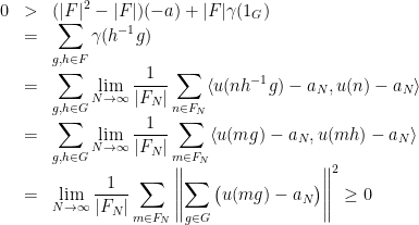 \displaystyle \begin{array}{rcl} 0&>&\displaystyle(|F|^2-|F|)(-a)+|F|\gamma(1_G)\\ &=&\displaystyle\sum_{g,h\in F}\gamma(h^{-1}g)\\&=&\displaystyle\sum_{g,h\in G}\lim_{N\rightarrow\infty}\frac1{|F_N|}\sum_{n\in F_N}\langle u(nh^{-1}g)-a_N,u(n)-a_N\rangle\\&=& \displaystyle\sum_{g,h\in G}\lim_{N\rightarrow\infty}\frac1{|F_N|}\sum_{m\in F_N}\langle u(mg)-a_N,u(mh)-a_N\rangle\\&=& \displaystyle\lim_{N\rightarrow\infty}\frac1{|F_N|}\sum_{m\in F_N}\left\|\sum_{g\in G}\big(u(mg)-a_N\big)\right\|^2\geq0 \end{array}