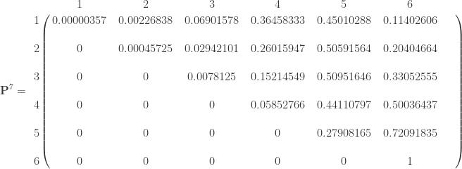\displaystyle \mathbf{P}^7 =    \bordermatrix{ & 1 & 2 & 3 & 4 & 5 & 6 \cr    1 & 0.00000357 & 0.00226838 & 0.06901578 & 0.36458333 & 0.45010288 & 0.11402606 \cr    \text{ } & \text{ } & \text{ } & \text{ } & \text{ } & \text{ } & \text{ } & \text{ } \cr    2 & 0 & 0.00045725 & 0.02942101 & 0.26015947 & 0.50591564 & 0.20404664 \cr  \text{ } & \text{ } & \text{ } & \text{ } & \text{ } & \text{ } & \text{ } & \text{ } \cr  3 & 0 & 0 & 0.0078125 & 0.15214549 & 0.50951646 & 0.33052555 \cr    \text{ } & \text{ } & \text{ } & \text{ } & \text{ } & \text{ } & \text{ } & \text{ } \cr  4 & 0 & 0 & 0 & 0.05852766 & 0.44110797 & 0.50036437 \cr    \text{ } & \text{ } & \text{ } & \text{ } & \text{ } & \text{ } & \text{ } & \text{ } \cr  5 & 0 & 0 & 0 & 0 & 0.27908165 & 0.72091835 \cr    \text{ } & \text{ } & \text{ } & \text{ } & \text{ } & \text{ } & \text{ } & \text{ } \cr  6 & 0 & 0 & 0 & 0 & 0 & 1 \cr    } \qquad