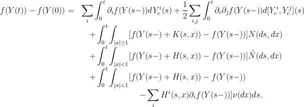 \displaystyle  \begin{array}{ll} f(Y(t)) - f(Y(0)) = & \displaystyle \sum_i \int_0^t \partial_i f(Y(s-)) d Y_c^i(s) + \frac 1 2 \sum_{i,j} \int_0^t \partial_i \partial_j f(Y(s-)) d [Y_c^i, Y_c^j] (s) \ & \displaystyle \quad + \int_0^t \int_{|x|\ge 1} [f(Y(s-) + K(s,x)) - f(Y(s-))] N(ds, dx) \ & \quad \displaystyle + \int_0^t \int_{|x|<1} [f(Y(s-)+ H(s,x)) - f(Y(s-))] \tilde N(ds, dx) \ & \quad + \displaystyle \int_0^t \int_{|x|<1} [f(Y(s-)+ H(s,x)) - f(Y(s-)) \ & \quad \hspace{1in} \displaystyle - \sum_i H^i(s,x) \partial_i f(Y(s-))] \nu(dx) ds. \end{array}