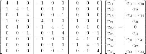 \displaystyle  \left[\!\!\begin{array}{rrrcrrrcrrr}  4&-1&0&\vline&-1&0&0&\vline&0&0&0\\  -1&4&-1&\vline&0&-1&0&\vline&0&0&0\\  0&-1&4&\vline&0&0&-1&\vline&0&0&0\\ \hline  -1&0&0&\vline&4&-1&0&\vline&-1&0&0\\  0&-1&0&\vline&-1&4&-1&\vline&0&-1&0\\  0&0&-1&\vline&0&-1&4&\vline&0&0&-1\\\hline  0&0&0&\vline&-1&0&0&\vline&4&-1&0\\  0&0&0&\vline&0&-1&0&\vline&-1&4&-1\\  0&0&0&\vline&0&0&-1&\vline&0&-1&4  \end{array}\!\!\right]\begin{bmatrix}  u_{11}\\  u_{12}\\  u_{13}\\ \hline  u_{21}\\  u_{22}\\  u_{23}\\ \hline  u_{31}\\  u_{32}\\  u_{33}  \end{bmatrix}=\begin{bmatrix}  c_{01}+c_{10}\\  c_{02}\\  c_{03}+c_{14}\\ \hline  c_{20}\\  0\\  c_{24}\\ \hline  c_{30}+c_{41}\\  c_{42}\\  c_{43}+c_{34}  \end{bmatrix}