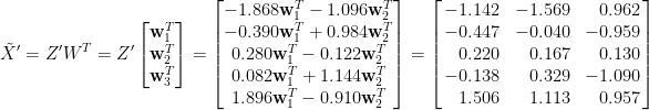 \displaystyle  \tilde{X}'=Z'W^T=Z'\begin{bmatrix}  \mathbf{w}_1^T\\  \mathbf{w}_2^T\\  \mathbf{w}_3^T  \end{bmatrix}=\begin{bmatrix}  -1.868\mathbf{w}_1^T-1.096\mathbf{w}_2^T\\  -0.390\mathbf{w}_1^T+0.984\mathbf{w}_2^T\\   0.280\mathbf{w}_1^T-0.122\mathbf{w}_2^T\\   0.082\mathbf{w}_1^T+1.144\mathbf{w}_2^T\\   1.896\mathbf{w}_1^T-0.910\mathbf{w}_2^T  \end{bmatrix}=\left[\!\!\begin{array}{rrr}  -1.142 & -1.569 & 0.962\\  -0.447 & -0.040 &-0.959\\   0.220 & 0.167  & 0.130\\  -0.138 & 0.329 & -1.090\\   1.506 & 1.113 & 0.957  \end{array}\!\!\right]