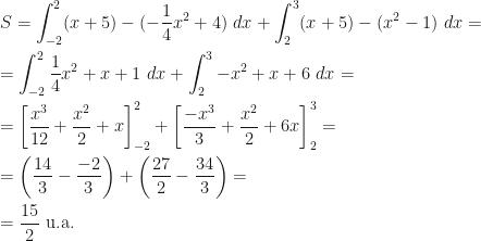 \displaystyle S=\int_{-2}^2(x+5)-(-\dfrac 14x^2+4)~dx+\int_2^3(x+5)-(x^2-1)~dx=\\\\=\int_{-2}^2\dfrac 14x^2+x+1~dx+\int_2^3-x^2+x+6~dx=\\\\=\left[\frac{x^3}{12}+\frac{x^2}2+x\right]_{-2}^2+\left[\dfrac{-x^3}3+\frac{x^2}2+6x\right]_2^3=\\\\=\left(\frac{14}3-\frac{-2}3\right)+\left(\frac{27}2-\frac{34}3\right)=\\\\=\frac{15}2\mbox{ u.a.}