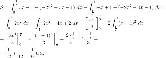 \displaystyle S=\int_0^{\frac 12}3x-1-(-2x^2+3x-1)~dx+\int_{\frac 12}^1-x+1-(-2x^2+3x-1)~dx=\\\\=\int_0^{\frac 12}2x^2~dx+\int_{\frac 12}^12x^2-4x+2~dx=\left[\frac{2x^3}3\right]_0^{\frac 12}+2\int_{\frac 12}^1(x-1)^2~dx=\\\\=\left[\frac{2x^3}3\right]_0^{\frac 12}+2\left[\frac{(x-1)^3}3\right]_{\frac 12}^1=\frac{2\cdot\frac 18}3-2\frac{-\frac 18}3=\\\\=\frac 1{12}+\frac 1{12}=\frac 16\mbox{ u.a.}