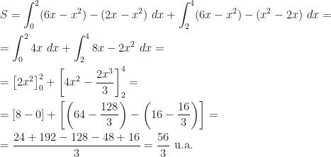 \displaystyle S=\int_0^2(6x-x^2)-(2x-x^2)~dx+\int_2^4(6x-x^2)-(x^2-2x)~dx=\\\\=\int_0^24x~dx+\int_2^48x-2x^2~dx=\\\\=\left[2x^2\right]_0^2+\left[4x^2-\dfrac{2x^3}3\right]_2^4=\\\\=[8-0]+\left[\left(64-\dfrac{128}3\right)-\left(16-\dfrac{16}3\right)\right]=\\\\=\dfrac{24+192-128-48+16}3=\dfrac{56}3\mbox{ u.a.}