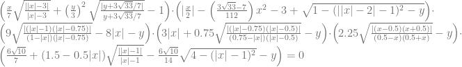 \left( \frac{x}{7} \sqrt{\frac{||x| - 3|}{|x| - 3}} + \left(\frac{y}{3}\right) ^2 \sqrt{\frac{| y+3\sqrt{33} / 7|}{y+3\sqrt{33} / 7}} - 1 \right) \cdot \left( \vert \frac{x}{2} \vert - \left( \frac{3\sqrt{33} - 7}{112}\right) x^2 - 3 + \sqrt{1 - (\vert |x| - 2\vert - 1)^2 - y} \right) \cdot \left( 9\sqrt{\frac{|(|x|-1)(|x|-0.75)|}{(1-|x|)(|x| - 0.75)}} -8|x| - y \right) \cdot \left( 3|x| + 0.75 \sqrt{\frac{|(|x|-0.75)(|x|-0.5)|}{(0.75-|x|)(|x|-0.5)}} - y \right) \cdot \left( 2.25\sqrt{\frac{|(x-0.5)(x+0.5)|}{(0.5-x)(0.5+x)}} - y \right) \cdot \left(\frac{6\sqrt{10}}{7} + (1.5 - 0.5|x|) \sqrt{\frac{||x|-1|}{|x|-1}} - \frac{6 \sqrt{10}}{14} \sqrt{4-(|x|-1)^2} - y \right) = 0