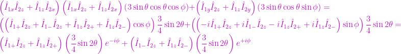 \left( \hat{I}_{1x} \hat{I}_{2z} + \hat{I}_{1z} \hat{I}_{2x} \right) \left( \hat{I}_{1x} \hat{I}_{2z} + \hat{I}_{1z} \hat{I}_{2x} \right) \left( 3 \sin{\theta} \cos{\theta} \cos{\phi} \right) + \left( \hat{I}_{1y} \hat{I}_{2z} + \hat{I}_{1z} \hat{I}_{2y} \right) \left( 3 \sin{\theta} \cos{\theta} \sin{\phi} \right) = \left( \left( \hat{I}_{1+} \hat{I}_{2z} + \hat{I}_{1-} \hat{I}_{2z} + \hat{I}_{1z} \hat{I}_{2+} + \hat{I}_{1z}\hat{I}_{2-} \right) \cos{\phi} \right) \displaystyle\frac{3}{4} \sin{2 \theta} + \left( \left( -i \hat{I}_{1+} \hat{I}_{2z} + i \hat{I}_{1-} \hat{I}_{2z} -i \hat{I}_{1z} \hat{I}_{2+} + i \hat{I}_{1z} \hat{I}_{2-} \right) \sin{\phi} \right) \frac{3}{4} \sin{2 \theta} = \left( \hat{I}_{1+} \hat{I}_{2z} + \hat{I}_{1z} \hat{I}_{2+} \right) \left( \frac{3}{4} \sin{2 \theta} \right) e^{-i \phi} + \left( \hat{I}_{1-} \hat{I}_{2z} + \hat{I}_{1z} \hat{I}_{2-} \right) \left( \frac{3}{4} \sin{2 \theta} \right) e^{+i \phi}