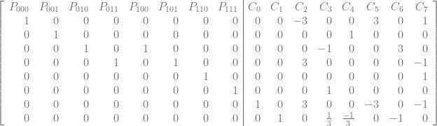 \left[\begin{array}{rrrrrrrr|rrrrrrrr} P_{000} & P_{001} & P_{010} & P_{011} & P_{100} & P_{101} & P_{110} & P_{111} & C_{0} & C_{1} & C_{2} & C_{3} & C_{4} & C_{5} & C_{6} & C_{7} \ 1 & 0 & 0 & 0 & 0 & 0 & 0 & 0 & 0 & 0 & -3 & 0 & 0 & 3 & 0 & 1 \ 0 & 1 & 0 & 0 & 0 & 0 & 0 & 0 & 0 & 0 & 0 & 0 & 1 & 0 & 0 & 0 \ 0 & 0 & 1 & 0 & 1 & 0 & 0 & 0 & 0 & 0 & 0 & -1 & 0 & 0 & 3 & 0 \ 0 & 0 & 0 & 1 & 0 & 1 & 0 & 0 & 0 & 0 & 3 & 0 & 0 & 0 & 0 & -1 \ 0 & 0 & 0 & 0 & 0 & 0 & 1 & 0 & 0 & 0 & 0 & 0 & 0 & 0 & 0 & 1 \ 0 & 0 & 0 & 0 & 0 & 0 & 0 & 1 & 0 & 0 & 0 & 1 & 0 & 0 & 0 & 0 \ 0 & 0 & 0 & 0 & 0 & 0 & 0 & 0 & 1 & 0 & 3 & 0 & 0 & -3 & 0 & -1 \ 0 & 0 & 0 & 0 & 0 & 0 & 0 & 0 & 0 & 1 & 0 & \frac{1}{3} & \frac{-1}{3} & 0 & -1 & 0 \ \end{array}\right]
