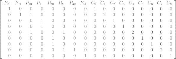 \left[\begin{array}{rrrrrrrr|rrrrrrrrr} P_{00} & P_{01} & P_{10} & P_{11} & P_{20} & P_{21} & P_{30} & P_{31} & C_0 & C_1 & C_2 & C_3 & C_4 & C_5 & C_6 & C_7 & C_8\ 1 & 0 & 0 & 0 & 0 & 0 & 0 & 0 & 1 & 0 & 0 & 0 & 0 & 0 & 0 & 0 & 0\ 0 & 1 & 1 & 0 & 0 & 0 & 0 & 0 & 0 & 2 & 0 & 0 & 0 & 0 & 0 & 0 & 0\ 0 & 0 & 0 & 1 & 0 & 0 & 0 & 0 & 0 & 0 & 1 & 0 & 0 & 0 & 0 & 0 & 0\ 0 & 0 & 0 & 1 & 0 & 0 & 0 & 0 & 0 & 0 & 0 & 1 & 0 & 0 & 0 & 0 & 0\ 0 & 0 & 1 & 0 & 0 & 1 & 0 & 0 & 0 & 0 & 0 & 0 & 2 & 0 & 0 & 0 & 0\ 0 & 0 & 0 & 0 & 1 & 0 & 0 & 0 & 0 & 0 & 0 & 0 & 0 & 1 & 0 & 0 & 0\ 0 & 0 & 0 & 0 & 1 & 0 & 0 & 0 & 0 & 0 & 0 & 0 & 0 & 0 & 1 & 0 & 0\ 0 & 0 & 0 & 0 & 0 & 1 & 1 & 0 & 0 & 0 & 0 & 0 & 0 & 0 & 0 & 2 & 0\ 0 & 0 & 0 & 0 & 0 & 0 & 0 & 1 & 0 & 0 & 0 & 0 & 0 & 0 & 0 & 0 & 1\ \end{array}\right]